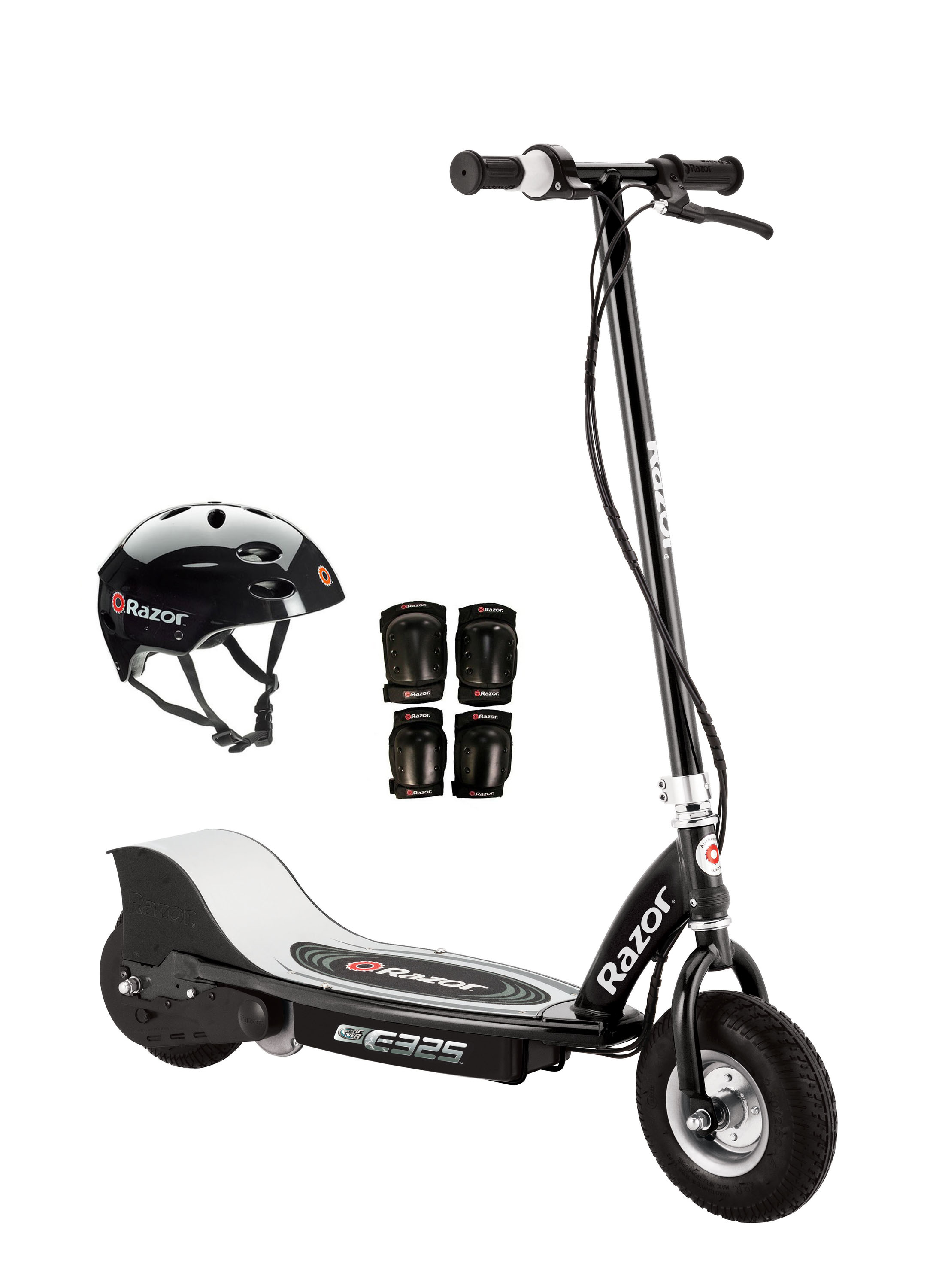 Razor E325 Electric 24V Motorized Scooter (Black) w  Helmet, Elbow and Knee Pads by Razor