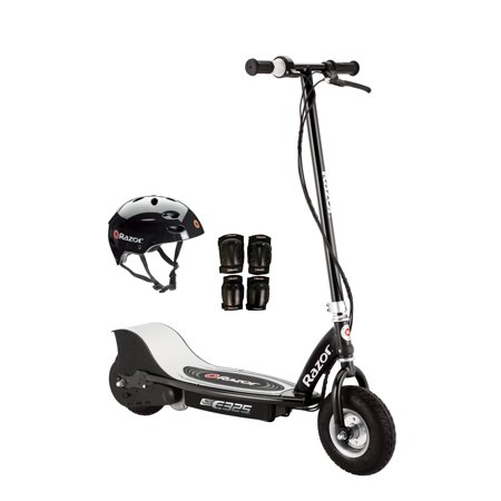Razor E325 Electric 24V Motorized Scooter (Black) w/ Helmet, Elbow and Knee
