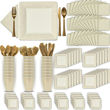 Fancy Disposable Ivory (Cream) Dinnerware Set - 24 Guest - 2 Size Square Plates, Cups, Napkins, Spoons, Forks, Knives - Made of Heavyweight Paper - Posh Supplies, Elegant Design for Upscale Party for $<!---->