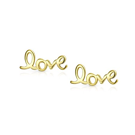 Love Word Script Cursive Expressions Stud Earrings For Women For Girlfriend 14K Gold Plated 925 Sterling Silver - image 1 de 3