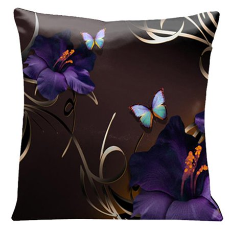 Lama Kasso 70 Purple Gladioli and Butterflies on a Rich Chocolate Background 18 in. Square Satin Pillow
