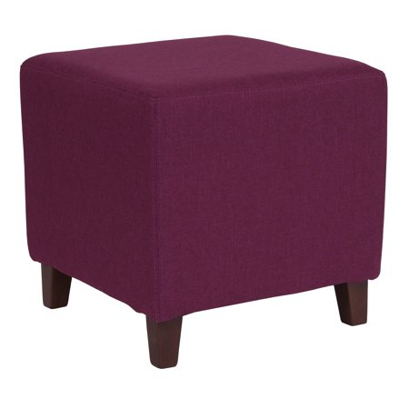 Flash Furniture Ascalon Upholstered Ottoman Pouf in Purple Fabric