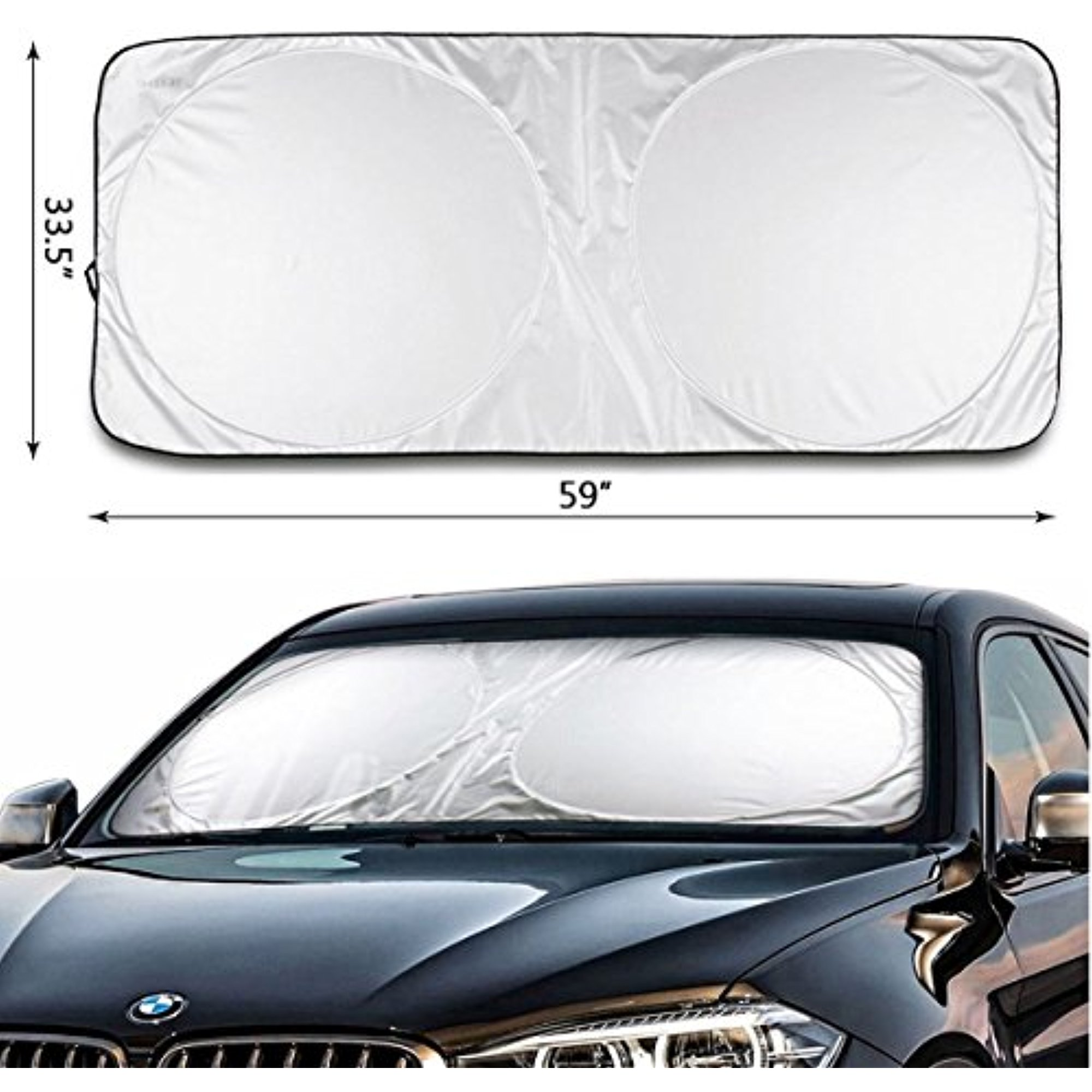 "iClover Car Window Shade Sunshade Jumbo-Shields Vehicle From Pop Up Style UV Protector Retractable Folding Outdoor Car Windshield Blinds(59""x33"")"