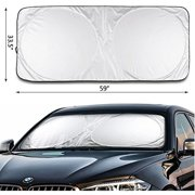 """iClover Car Window Shade Sunshade Jumbo-Shields Vehicle From Pop Up Style UV Protector Retractable Folding Outdoor Car Windshield Blinds(59""""x33"""")"""