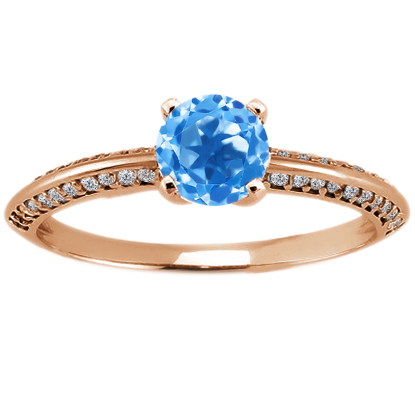 1.18 Ct Round Swiss Blue Topaz 14K Rose Gold Ring by