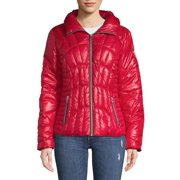 GUESS Zip Front Puffer Coat (Red, Small)