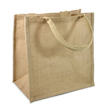 Natural Burlap Tote Bags Reusable Jute Bags with Full Gusset (Pack of 6) -