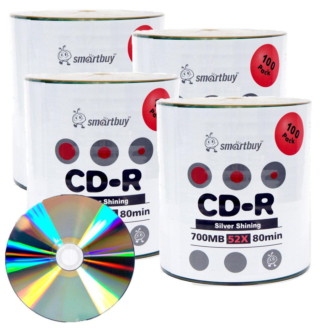 400 Pack Smartbuy 52X CD-R 700MB 80Min Shiny Silver (Non-Printable) Data Blank Media Recordable Disc