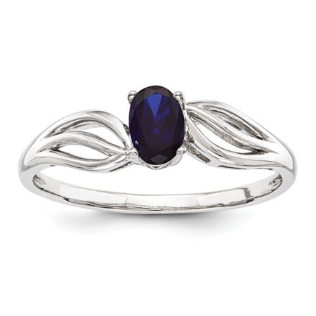 Sterling Silver Polished Open back Rhodium-plated Created Sapphire Ring - Ring Size: 5 to 10 - Blue Lantern Ring For Sale