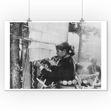 Navajo Woman Weaving a Blanket Photograph (9x12 Art Print, Wall Decor Travel Poster)