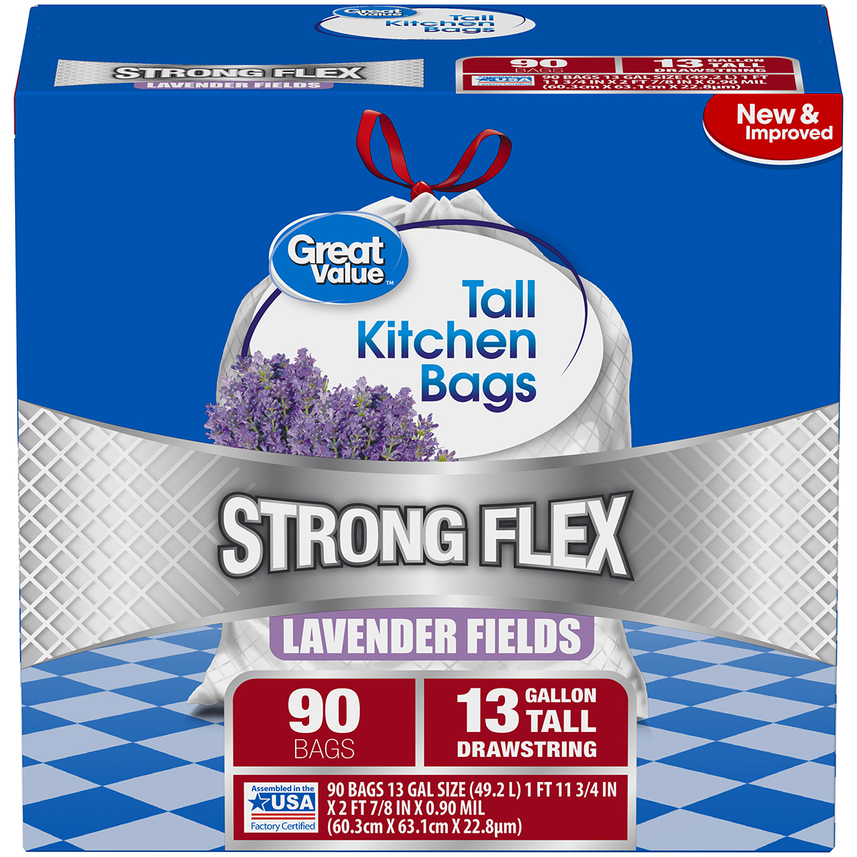 Great Value Strong Flex Tall Kitchen Drawstring Trash Bags, Lavender Fields, 13 Gallon, 90 Count