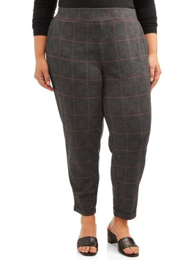 Terra & Sky Women's Plus Size Printed Double Knit Tapered Pant