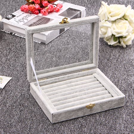 7 Colors Velvet PU Jewelry Box Storage Show Case Rings Earings Bracelet Portable Necklace Glass Display Holder Tray Wood Organizer Travel Ornaments Cosmetic Women Girls Gift Hummingbird Stained Glass Jewelry Box