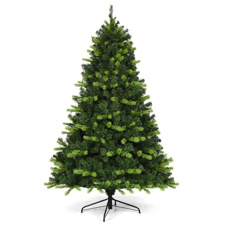 Costway 6.5Ft Pre-lit Christmas Tree PE PVC Hinged 650 Lights Green ()