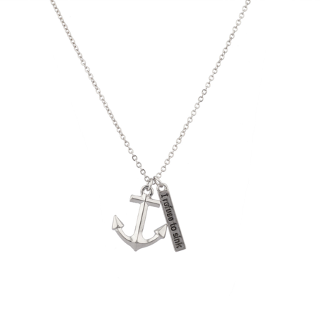 Lux Accessories I Refuse To Sink Anchor Inspiration Pendant Charm Necklace.