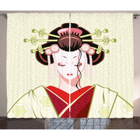 Japanese Curtains 2 Panels Set, Geisha Woman Portrait Traditional Asian Kimono Maiko Cultural Hairdo, Window Drapes for Living Room Bedroom, 108W X 108L Inches, Green Red Pale Yellow, by Ambesonne