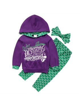 3pcs Mermaid Outfit Set Long Sleeve Hoodie Top+Pants+Headband Suit for Baby Girl 1-6T