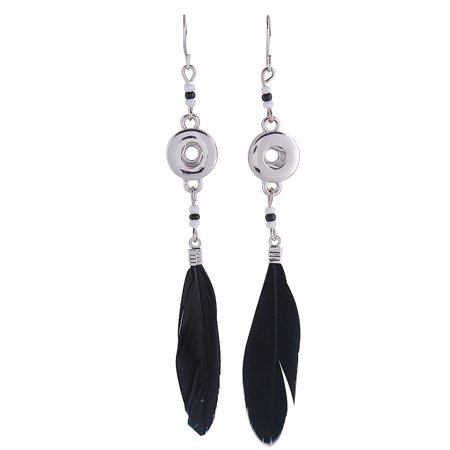 1 Pair Black Feather Dangle Earrings - FITS 12MM Candy Snap Charm Silver KS0945-s Cj0697