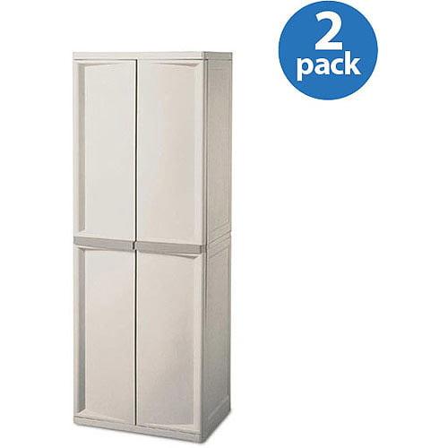 Sterilite 4 Shelf Utility Storage Cabinet Putty 01428501 2 Pack Dnp 2asm3gv2x0cp Bundle Image
