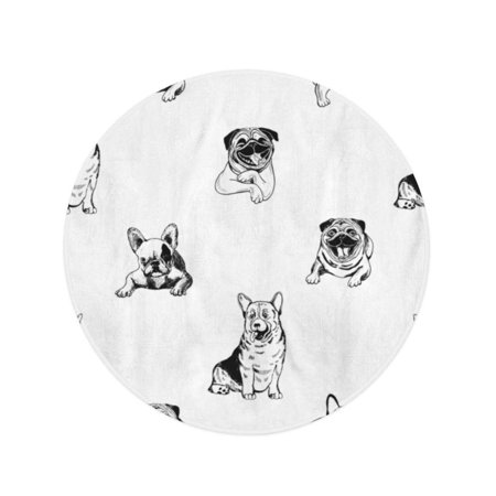 NUDECOR 60 inch Round Beach Towel Blanket Cool of Sketch Dogs Black Breed Bulldog Cattle Travel Circle Circular Towels Mat Tapestry Beach Throw - image 2 de 2