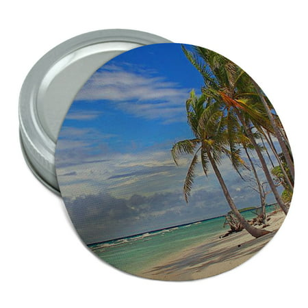 Tropical Beach Island Sky Clouds Vacation Round Rubber Non-Slip Jar Gripper Lid Opener