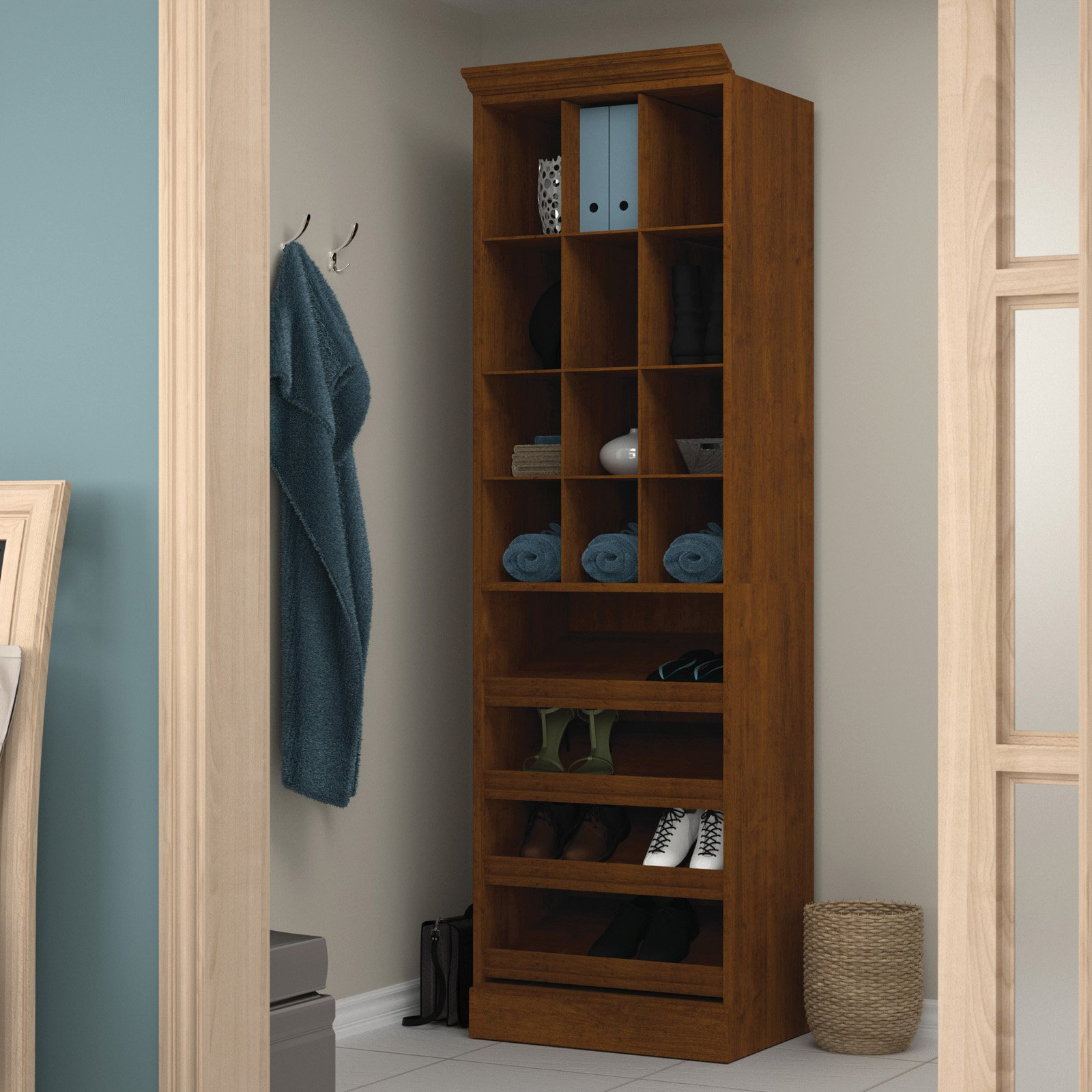 "Versatile by Bestar 25"" Cubby Storage unit in Tuscany Brown"