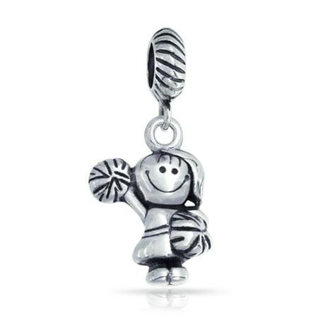 Cheerleader Daughter Sports Athletic Dangle Cartoon Charm Bead For Women 925 Sterling Silver Fits European Bracelet