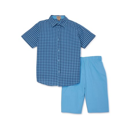 Jake's Vintage Boys Short Sleeve Woven Shirt & Twill Pull On Shorts, 2-Piece Outfit Set, Sizes 4-12 Boys Navy Short Set