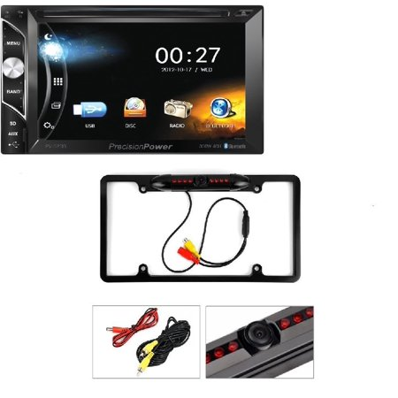 Power Acoustik PV-620B 2-DIN Multimedia DVD Source Unit w/ 6.2″ LCD Touch Screen & Bluetooth Connectivity Cache Night Vision Car License Plate Rearview Camera - Black CAM810 (Media Cache Halloween)