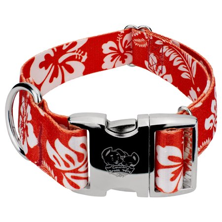 country brook design 1 1/2 inch premium red hawaiian dog collar