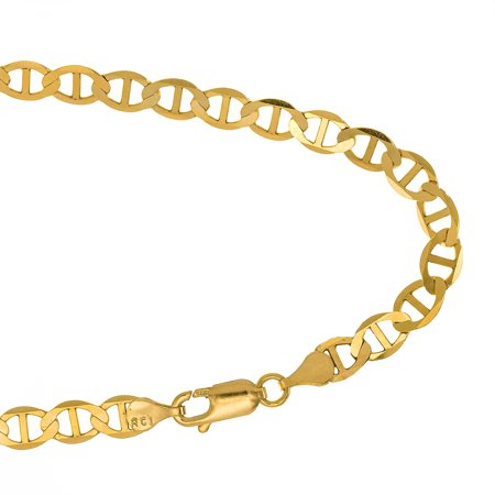 14k Solid Yellow Gold 3.2mm Mariner Chain Anklet 10