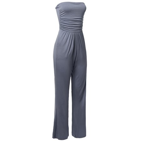 FashionOutfit Women's Casual Tube Top Strapless Stretchable Long Wide Leg Jumpsuit - Blue Jumpsuit