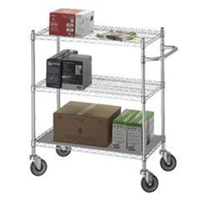 R&B Wire UC1836SOL 18 in. x 36 in. x 42 in. Utility Linen Cart with Solid Bottom 16 Gauge Chrome Plated Shelf