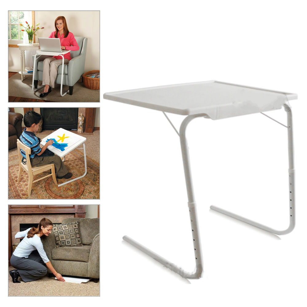 1pc White Adjustable Smart Laptop Desk Table Mate Foldable Tray