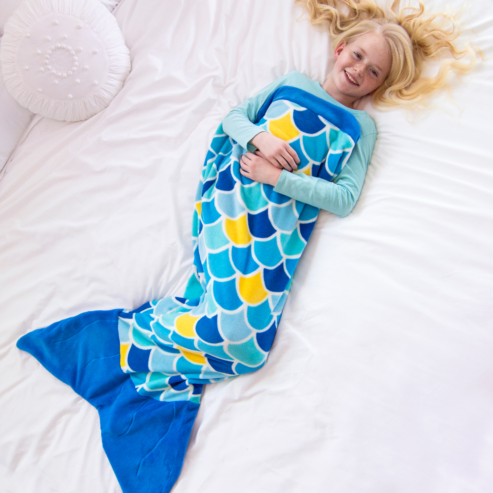 Cuddle Tails Super Soft Mermaid Tail Blankets for imaginative play in Kids and Adult Sizes by Fin Fun