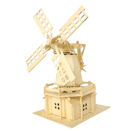 Solar Windmill - Child DIY 3D Wooden Holland Windmill Model Construction Kit Puzzle Toy Gift