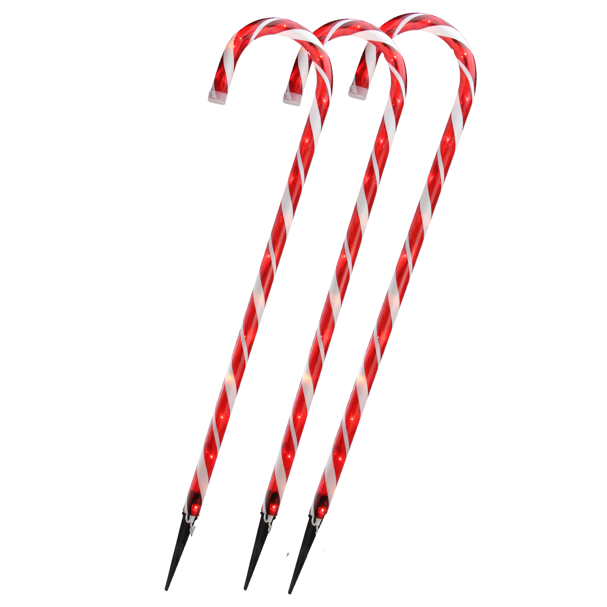 Set of 3 Lighted Outdoor Shimmering Candy Cane Christmas Lawn Stakes 28""