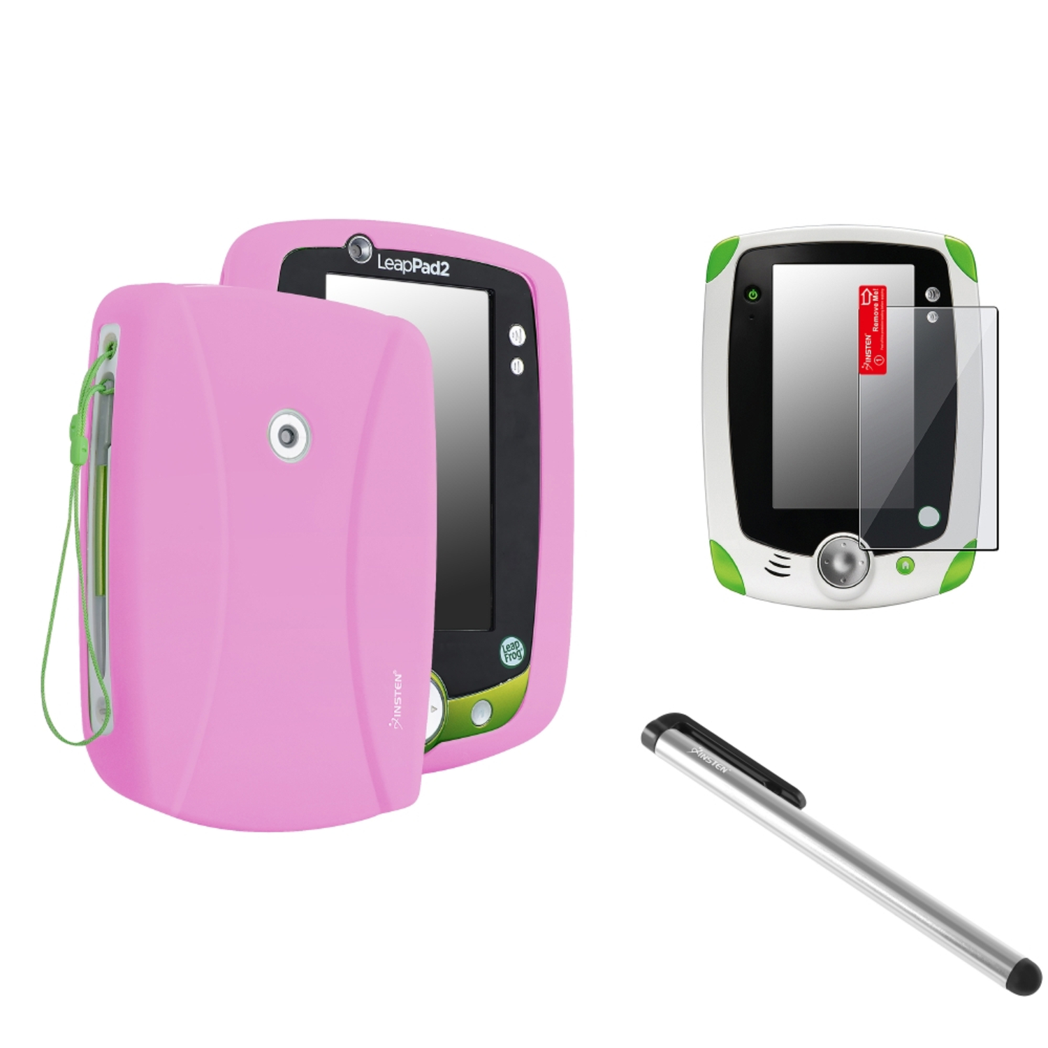 Insten Pink Skin Cover Case+Clear Protector+Silver Stylus For LPF Leappad 2 Explorer
