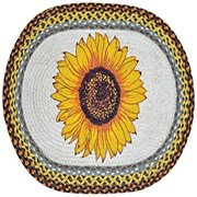 "Earth Rugs 65-381S Sunflower Oval Design Rug, 20 by 30"", Braided, Wheat/Brown/Natural"