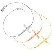 Fremada  14k Gold Diamond-cut Sideways Cross Adjustable Bracelet