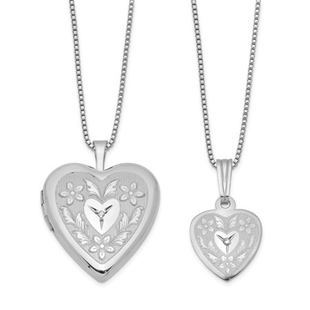925 Sterling Silver Diamond Heart Locket Pendant Charm Necklace Set Fine Jewelry Gifts For Women For Her - image 6 de 6