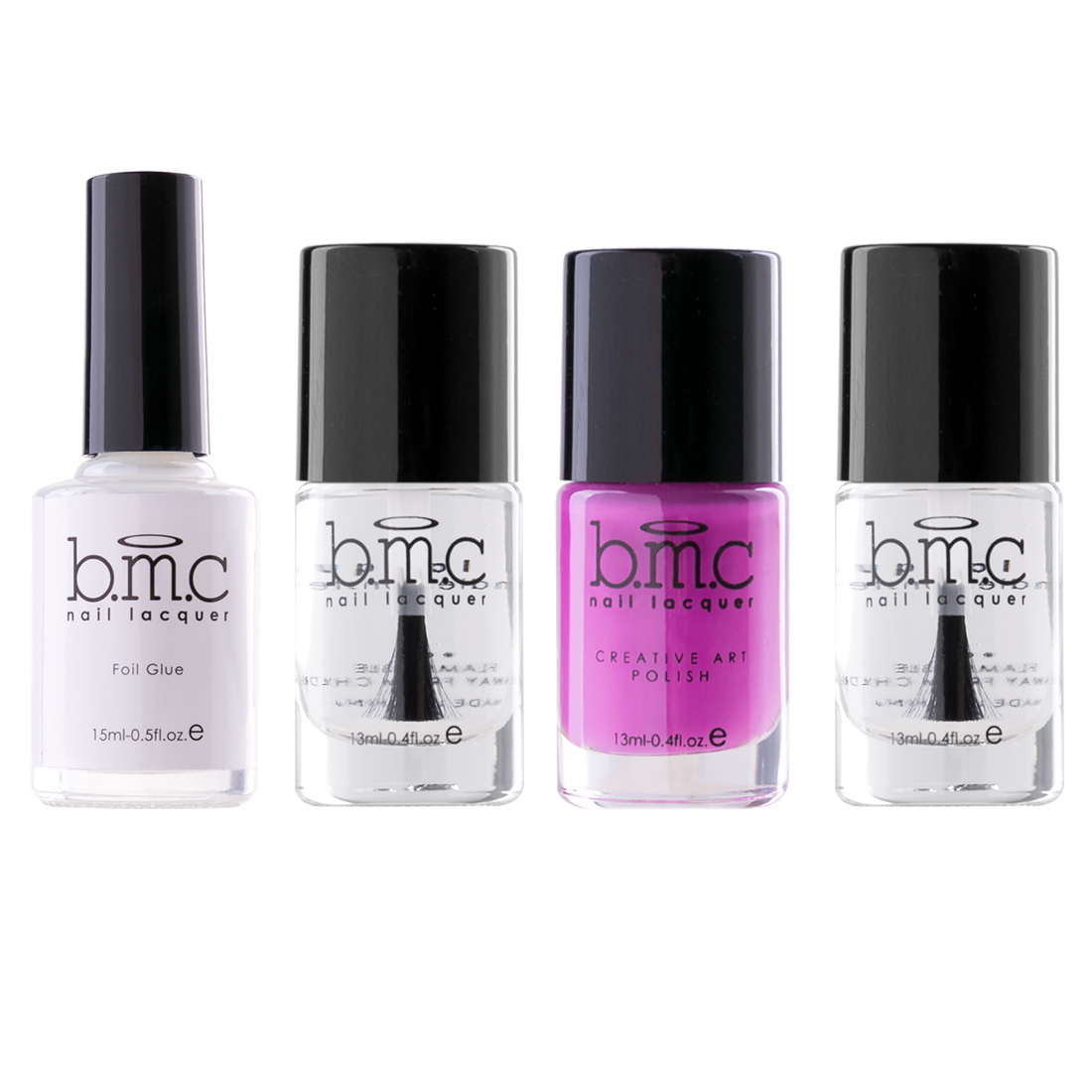 BMC Nail Art Foil Starter Kits - Base Coat, Top Coat, Polish, Foil ...