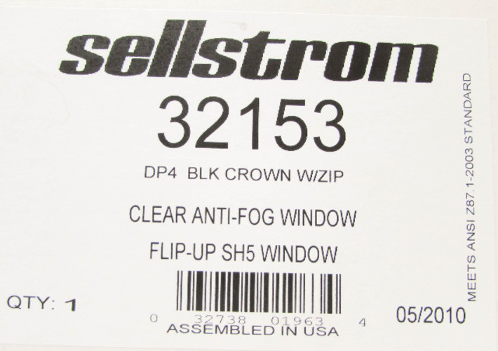 Sellstrom 32182 DP4 Black Crown and Clear Anti-fog Window//Shade 8 IR Flip Front Window Protective Faceshield with Universal Slot Adapter