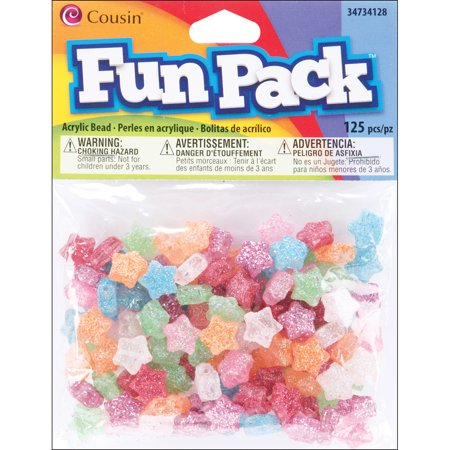 Fun Pack Acrylic Star Beads, 125pk, Assorted - Glitter Beads