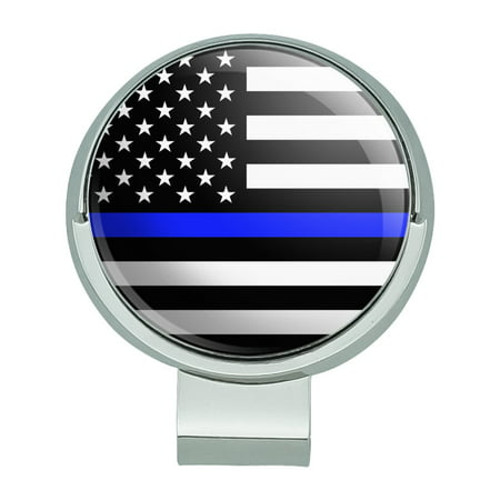 Thin Blue Line American Flag Golf Hat Clip With Magnetic Ball Marker Magnetic Ball Marker