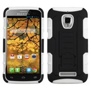 For 7024W One Touch Fierce Black/White Car Armor Stand Case Cover (Rubberized)