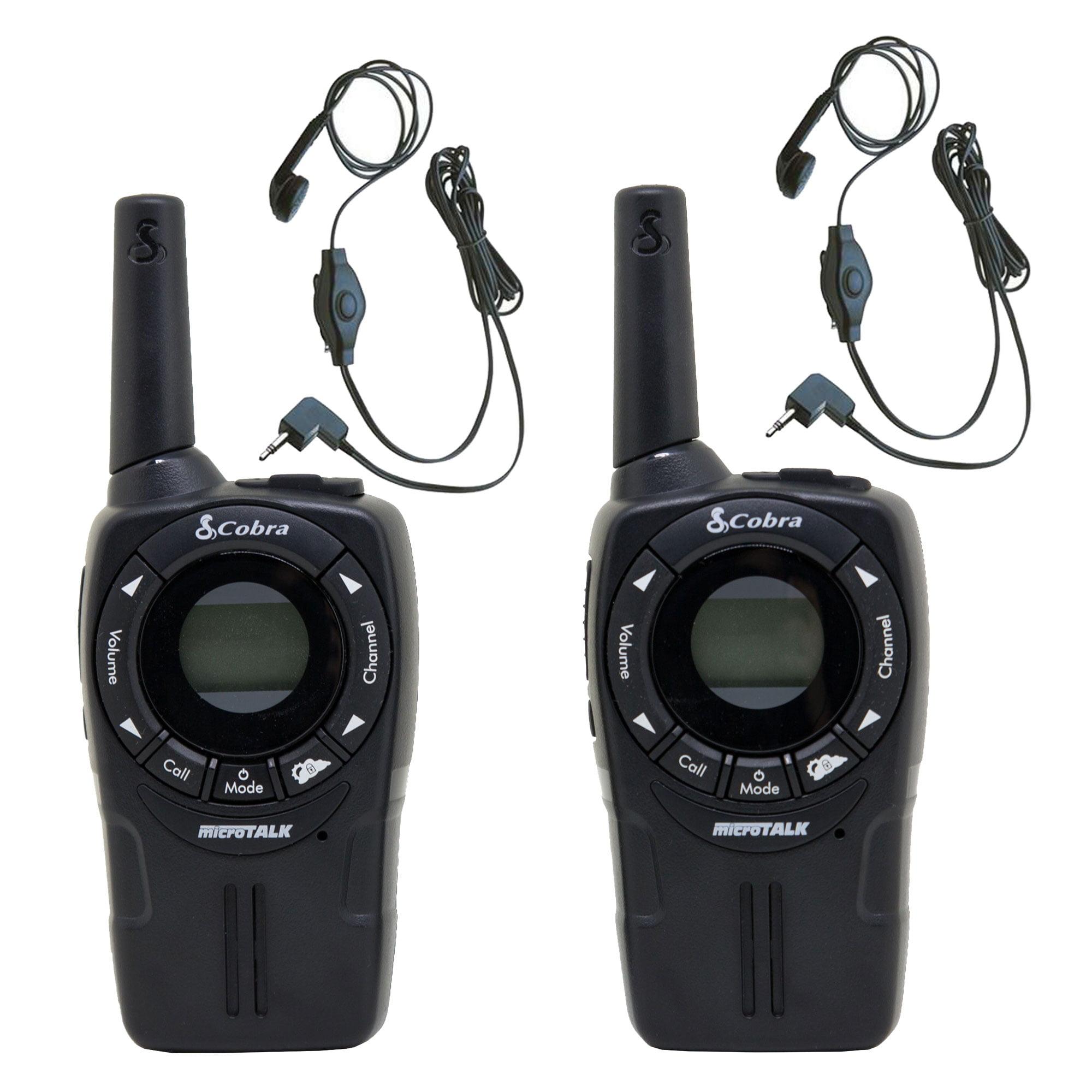 COBRA CXT225 20 Mile GMRS FRS 2-Way Radio Walkie Talkies + (2) Earbud & Mic Sets by Cobra