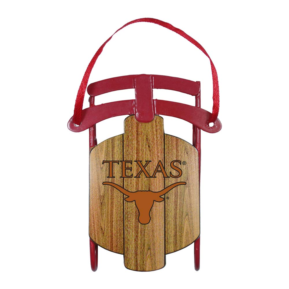 Texas Longhorns Official NCAA 4 inch  Metal Sled Christmas Ornament by Topperscot