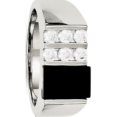 Sterling Silver Men's CZ and Onyx Ring - image 2 of 2