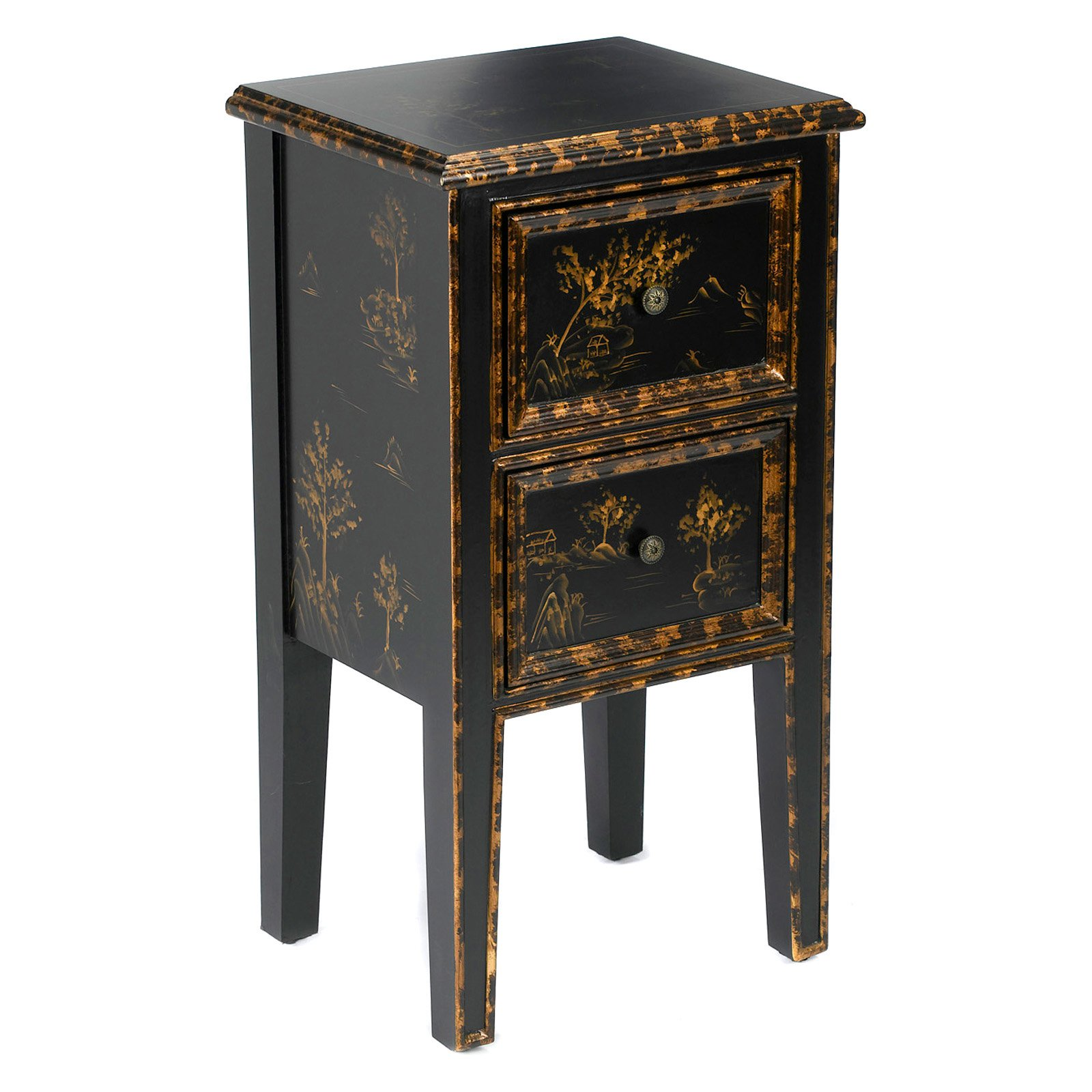 AA Importing 2 Drawer Chinoiserie End Table Black by AA Importing